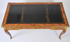 19th century french bureau plat with black leather top john