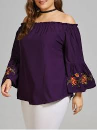 purple blouses plus size embroidered the shoulder blouse with flare sleeve