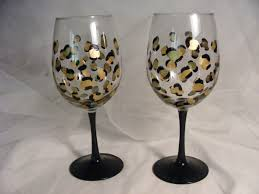 wine birthday candle painted leopard print wine glasses birthday or wedding