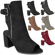 womens boots uk ebay womens ankle boots mid block heel peep toe open back buckle