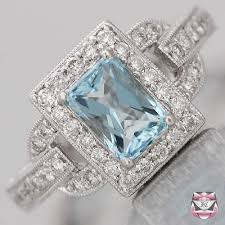 aquamarine rings art deco aquamarine engagement ring