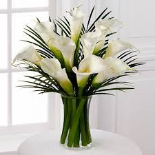 Flowers Delivered With Vase Endless Elegance Calla Lily Bouquet 10 Stems Vase Included