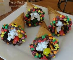 thanksgiving cornucopia cones filled with the feast snoopy made