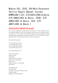 Bobcat 331 331 E 334 Mini Excavator Service Repair Manual Instant D U2026