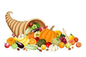 autumn cornucopia horn of plenty with fruits and stock vector