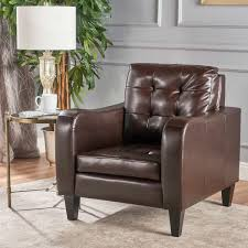 Leather Club Chair Louisa Tufted Bonded Leather Club Chair