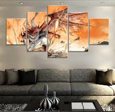 Decorative Paintings For Home 5 Piece Modular Art Fairy Tail Anime Modern Decorative Paintings