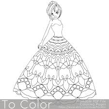 mandala princess coloring pages for adults coloring page