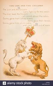 nursery rhyme and illustration of the lion and the unicorn from