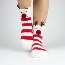 fuzzy christmas socks reindeer and snowflake fuzzy socks with pom pom boxed gift set