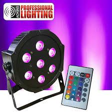 led flatpar 7x10 watt rgbw par light w remote up