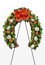 horseshoe wreath green white and orange horseshoe funeral wreath