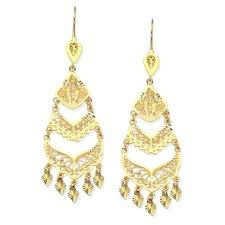 yellow gold chandelier earrings 14k yellow gold filigree