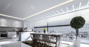 high rise kitchen table 3d rendering of brightly lit kitchen with table and island behind