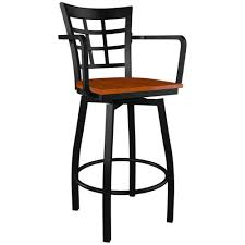 Bar Stool With Arms Window Back Swivel Bar Stool With Arms