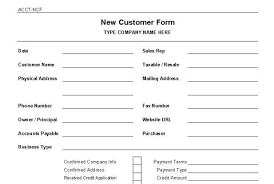 new customer form template word business format client