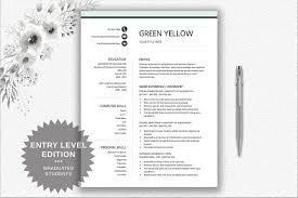 Entry Level Resumes Templates Resume Template Entry Level Resume Templates Creative Market