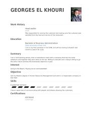 Example Resume Waitress Waiter Resume Sample Resume Templates