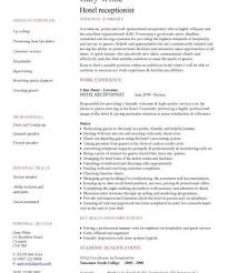 Sample Resume Hospitality by Download Sample Resume For Receptionist Haadyaooverbayresort Com