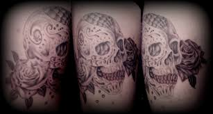 grey shade sugar skull and roses by calebslabzzzgraham on