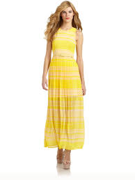 french connection london rock striped maxi dress in yellow lyst