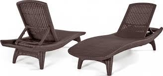 Patio Chaise Lounge Chair Keter 2pc Rattan Outdoor Chaise Lounge Chairs Patio Table