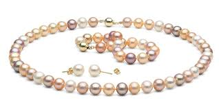 freshwater pearl necklace set images Multi color gem grade freshwater pearl jewelry set 8 5 9 0mm jpg