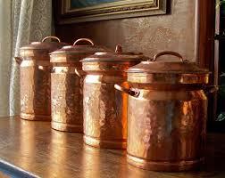 copper kitchen canister sets vintage copper canister set canister sets etsy and vintage