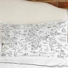 World Map Bedding Doodle World Map Pillowcase Colour Your Travels The Present