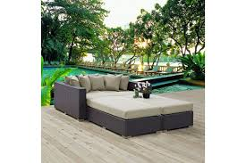 Outdoor Patio Daybed Beds Convene 4 Outdoor Patio Daybed In Espresso Beige