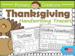 thanksgiving handwriting sheets prek to kinder usa letter