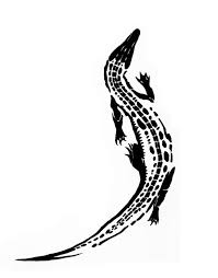 awesome black alligator tattoo stencil