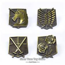 shingeki no kyojin attack on titan metal emblem badge keychain