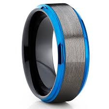 mens tungsten rings images Tungsten wedding band rose gold ring blue ring gray ring jpg