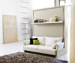 minimalist rooms bedroom murphy bed with sofa and floating shelf in modern