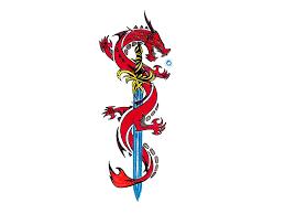dragon wrapped around a sword round designs