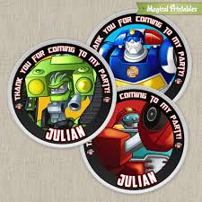 Rescue Bots Favors by Rescue Bots Printable Birthday Favor Tag Labels