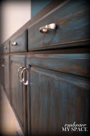 How To Antique Paint Kitchen Cabinets Furniture Distressing Diy Not Crazy About The Blue But Her