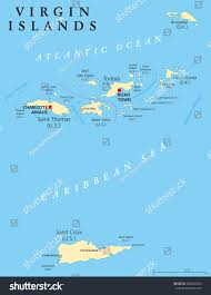 Map Of Virgin Islands Virgin Islands Political Map Island Group Stock Vector 268639304