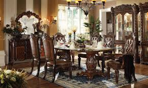 acme vendome 7pc double pedestal dining room set with glass table