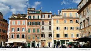 houses homes in trastevere square rome roma italy italia stock