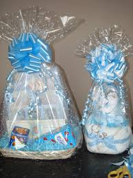 clear cellophane with a white dot for a baby shower gift wrap