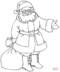 santa with gift bag coloring page free printable coloring pages