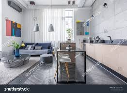 modern apartment kitchens modern apartment living room open kitchen stock photo 552165496