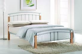 Beech Bed Frames Thiago Modern Beech Wooden Silver Metal Bed Frame Contemporary