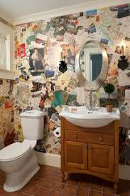 funky bathroom wallpaper ideas funky toilet wallpaper made out of newspaper clippings