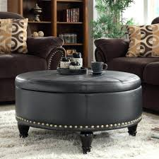 ottoman leather ottoman black round coffee table design for