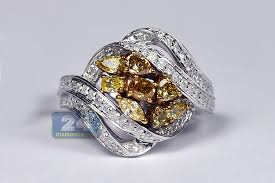 cluster rings womens fancy yellow diamond cluster ring 14k white gold 1 57 ct