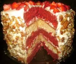 haute heirloom red velvet strawberry shortcake layer cake with