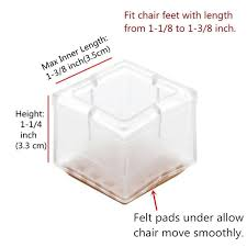 Chair Feet Covers 16pcs Square Silicone Chair Leg Caps Feet Pads Table Covers Wood